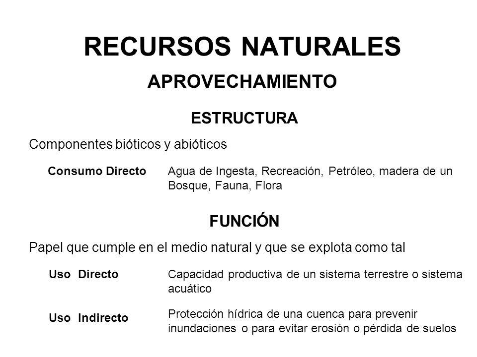 RECURSOS NATURALES ESTRUCTURA APROVECHAMIENTO Componentes bióticos y abióticos Consumo DirectoAgua de Ingesta, Recreación, Petróleo, madera de un Bosq