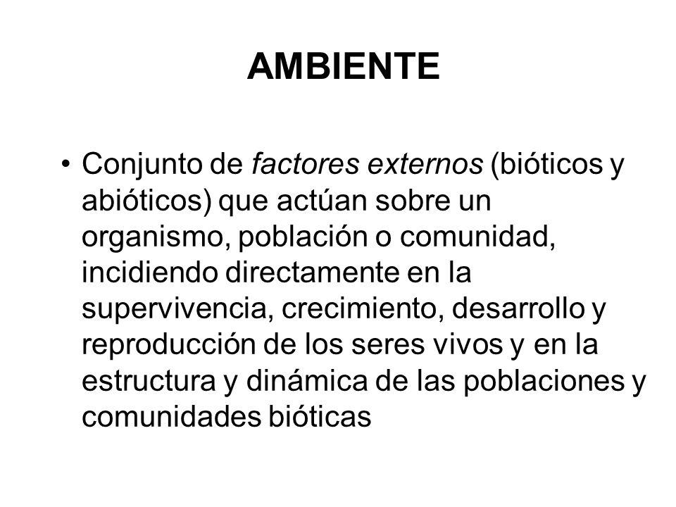 AMBIENTE Conjunto de factores externos (bióticos y abióticos) que actúan sobre un organismo, población o comunidad, incidiendo directamente en la supe