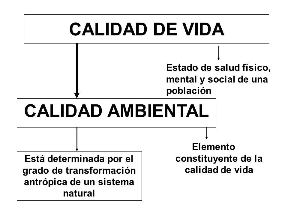 CALIDAD DE VIDA CALIDAD AMBIENTAL Elemento constituyente de la calidad de vida Está determinada por el grado de transformación antrópica de un sistema