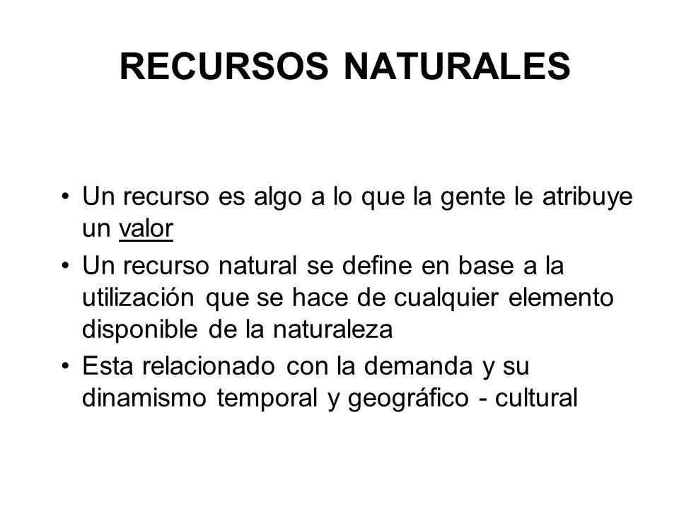 RECURSOS NATURALES Un recurso es algo a lo que la gente le atribuye un valor Un recurso natural se define en base a la utilización que se hace de cual