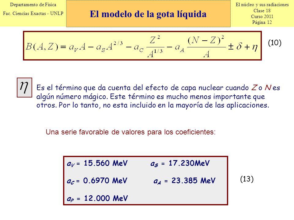 El núcleo y sus radiaciones Clase 18 Curso 2011 Página 12 Departamento de Física Fac. Ciencias Exactas - UNLP (10) Es el término que da cuenta del efe