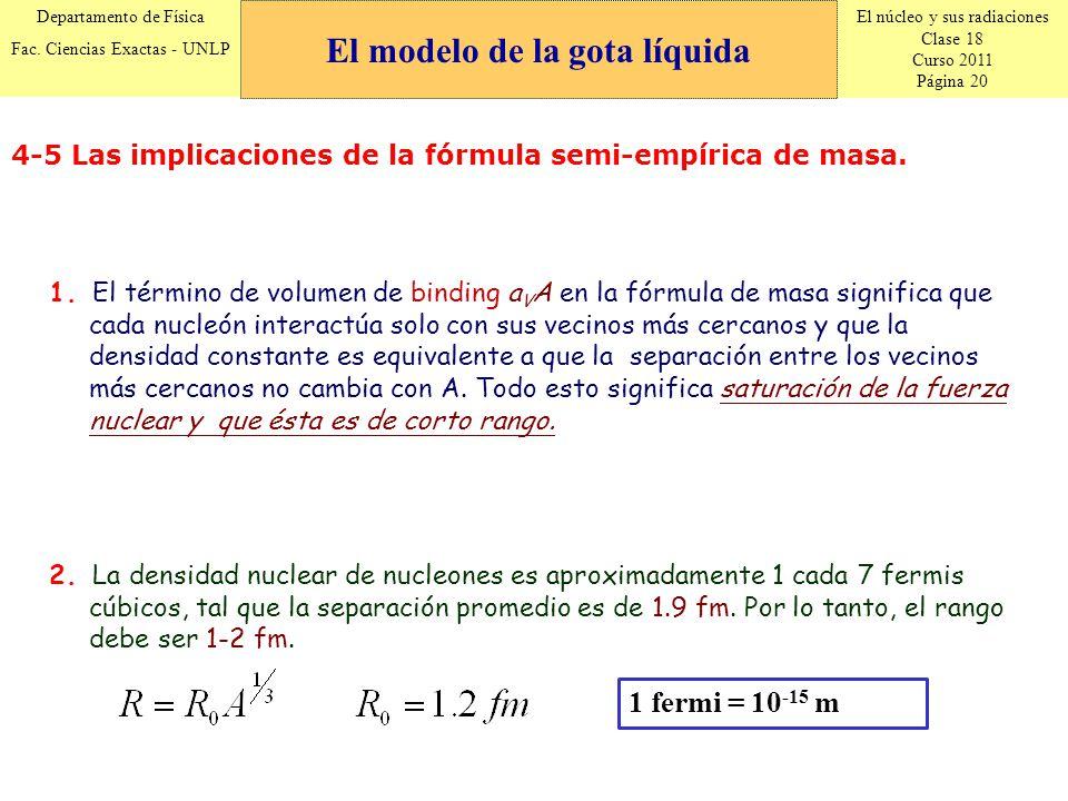 El núcleo y sus radiaciones Clase 18 Curso 2011 Página 20 Departamento de Física Fac. Ciencias Exactas - UNLP 4-5 Las implicaciones de la fórmula semi