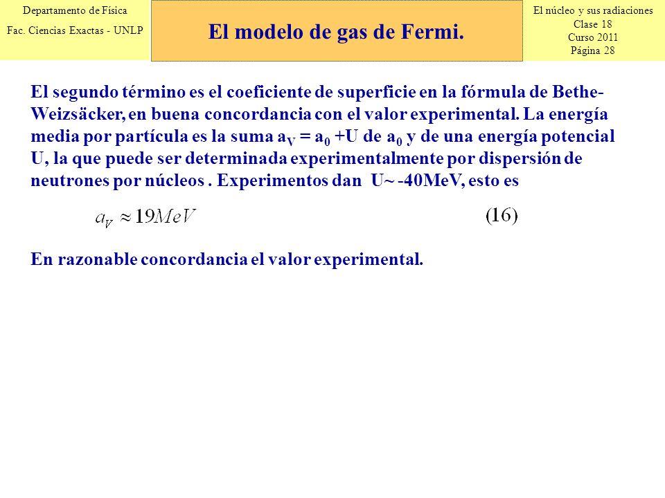 El núcleo y sus radiaciones Clase 18 Curso 2011 Página 28 Departamento de Física Fac. Ciencias Exactas - UNLP El segundo término es el coeficiente de