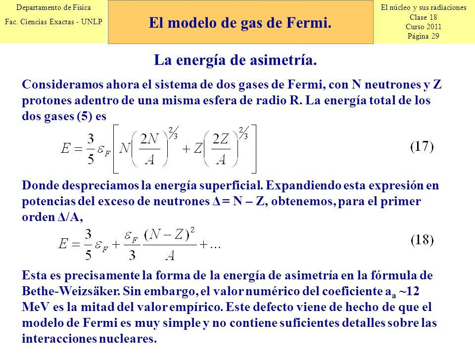 El núcleo y sus radiaciones Clase 18 Curso 2011 Página 29 Departamento de Física Fac. Ciencias Exactas - UNLP La energía de asimetría. Consideramos ah