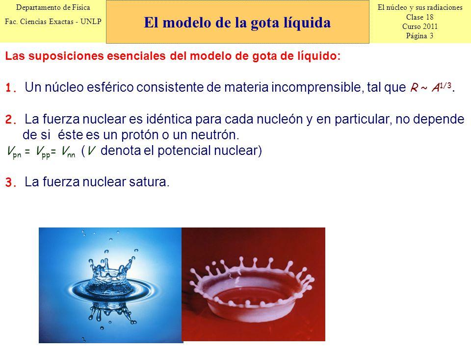 El núcleo y sus radiaciones Clase 18 Curso 2011 Página 3 Departamento de Física Fac. Ciencias Exactas - UNLP 1. Un núcleo esférico consistente de mate