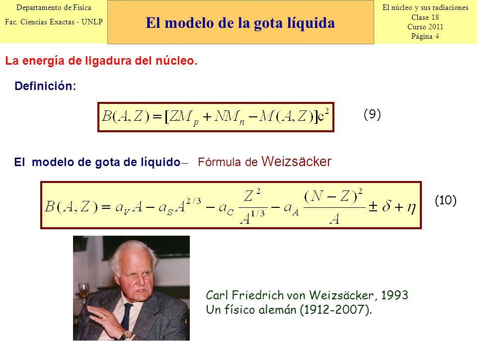 El núcleo y sus radiaciones Clase 18 Curso 2011 Página 4 Departamento de Física Fac. Ciencias Exactas - UNLP La energía de ligadura del núcleo. (9) De