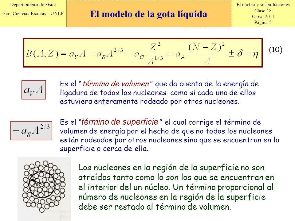 El núcleo y sus radiaciones Clase 18 Curso 2011 Página 5 Departamento de Física Fac. Ciencias Exactas - UNLP Es el término de volumen que da cuenta de