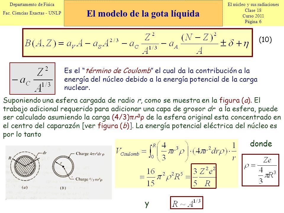 El núcleo y sus radiaciones Clase 18 Curso 2011 Página 6 Departamento de Física Fac. Ciencias Exactas - UNLP (10) Es el término de Coulomb el cual da