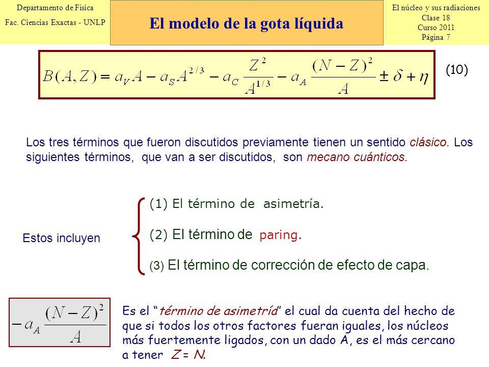El núcleo y sus radiaciones Clase 18 Curso 2011 Página 7 Departamento de Física Fac. Ciencias Exactas - UNLP (10) Es el término de asimetría el cual d