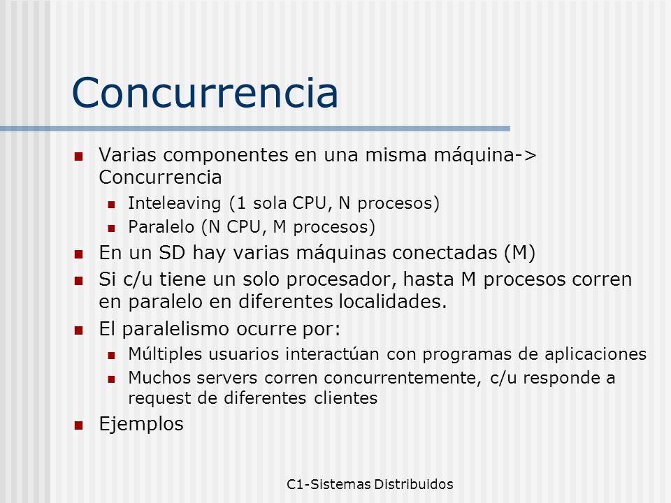 C1-Sistemas Distribuidos Concurrencia Varias componentes en una misma máquina-> Concurrencia Inteleaving (1 sola CPU, N procesos) Paralelo (N CPU, M procesos) En un SD hay varias máquinas conectadas (M) Si c/u tiene un solo procesador, hasta M procesos corren en paralelo en diferentes localidades.