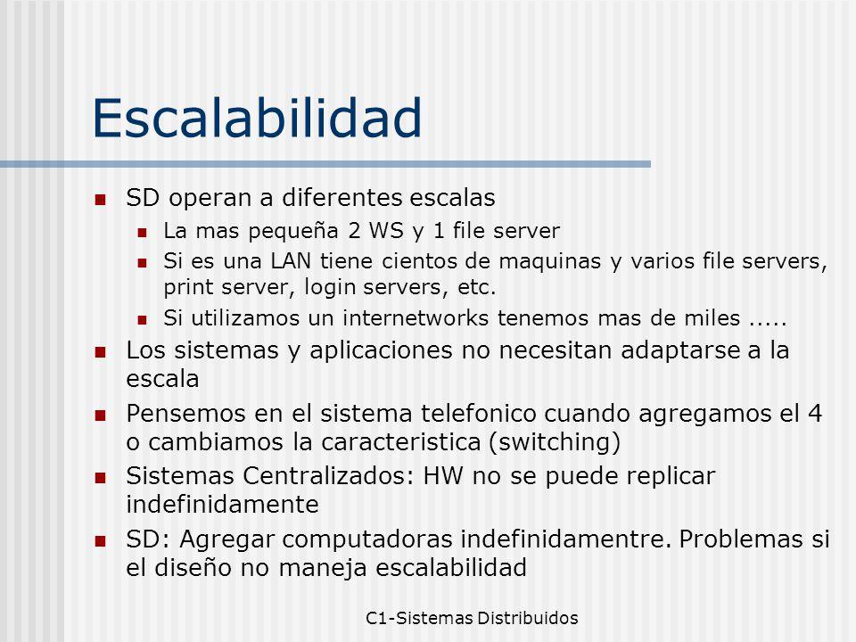 C1-Sistemas Distribuidos Escalabilidad SD operan a diferentes escalas La mas pequeña 2 WS y 1 file server Si es una LAN tiene cientos de maquinas y varios file servers, print server, login servers, etc.