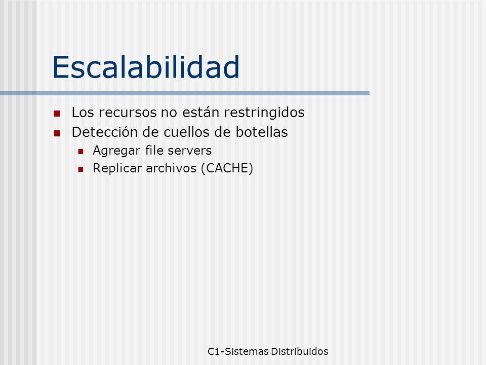 C1-Sistemas Distribuidos Escalabilidad Los recursos no están restringidos Detección de cuellos de botellas Agregar file servers Replicar archivos (CACHE)