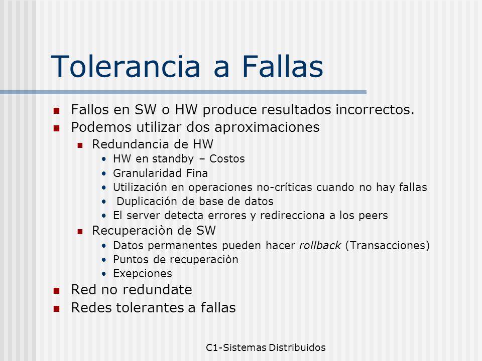 C1-Sistemas Distribuidos Tolerancia a Fallas Fallos en SW o HW produce resultados incorrectos.