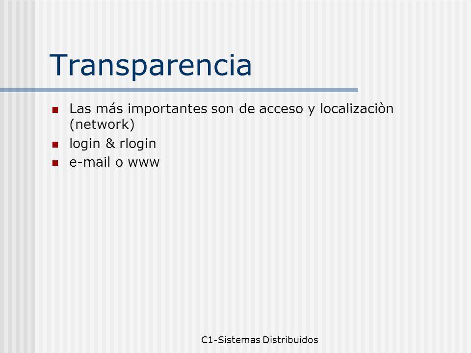C1-Sistemas Distribuidos Transparencia Las más importantes son de acceso y localizaciòn (network) login & rlogin e-mail o www