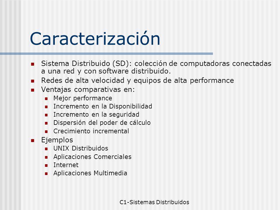 C1-Sistemas Distribuidos Caracterización Sistema Distribuido (SD): colección de computadoras conectadas a una red y con software distribuido.