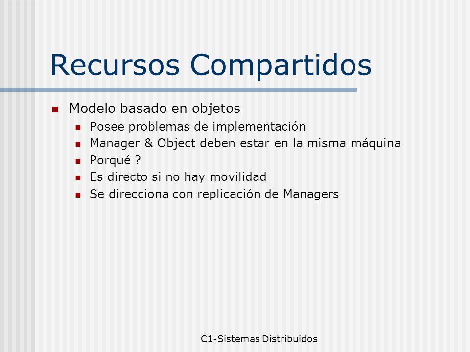 C1-Sistemas Distribuidos Recursos Compartidos Modelo basado en objetos Posee problemas de implementación Manager & Object deben estar en la misma máquina Porqué .