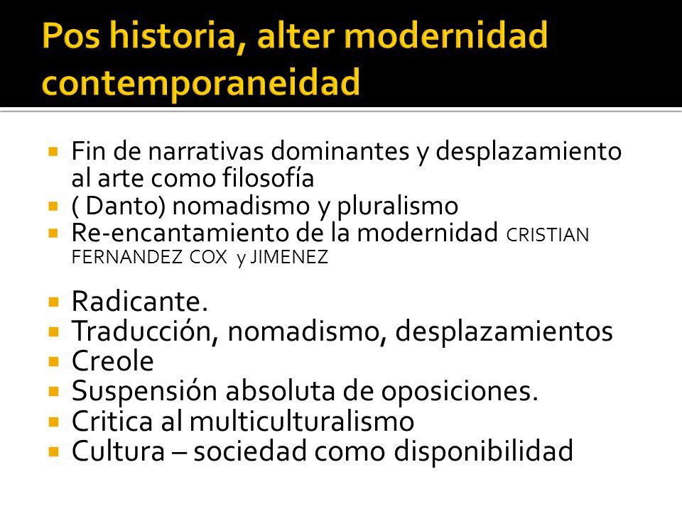 Fin de narrativas dominantes y desplazamiento al arte como filosofía ( Danto) nomadismo y pluralismo Re-encantamiento de la modernidad CRISTIAN FERNAN