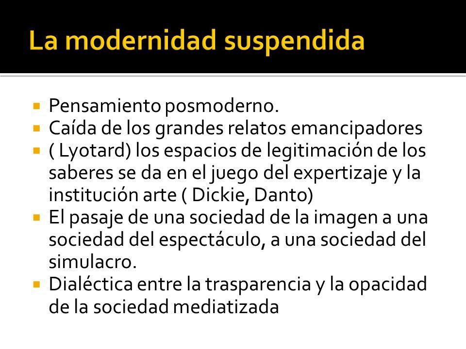 Pensamiento posmoderno. Caída de los grandes relatos emancipadores ( Lyotard) los espacios de legitimación de los saberes se da en el juego del expert