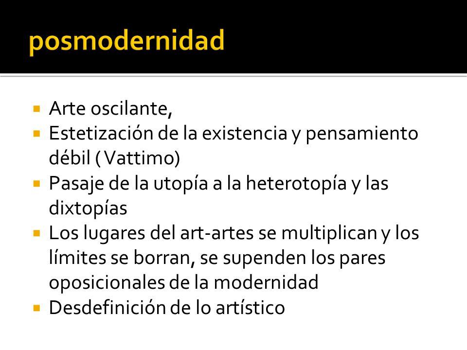 Arte oscilante, Estetización de la existencia y pensamiento débil ( Vattimo) Pasaje de la utopía a la heterotopía y las dixtopías Los lugares del art-