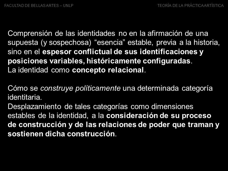 FACULTAD DE BELLAS ARTES – UNLP TEORÍA DE LA PRÁCTICA ARTÍSTICA Comprensión de las identidades no en la afirmación de una supuesta (y sospechosa) esen