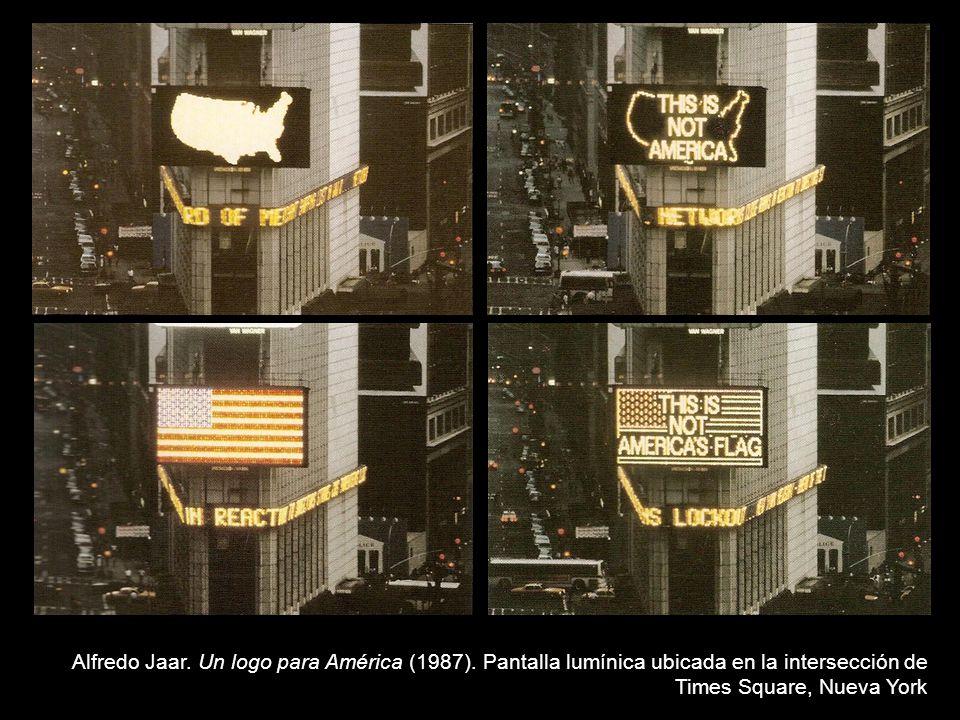 Alfredo Jaar. Un logo para América (1987). Pantalla lumínica ubicada en la intersección de Times Square, Nueva York
