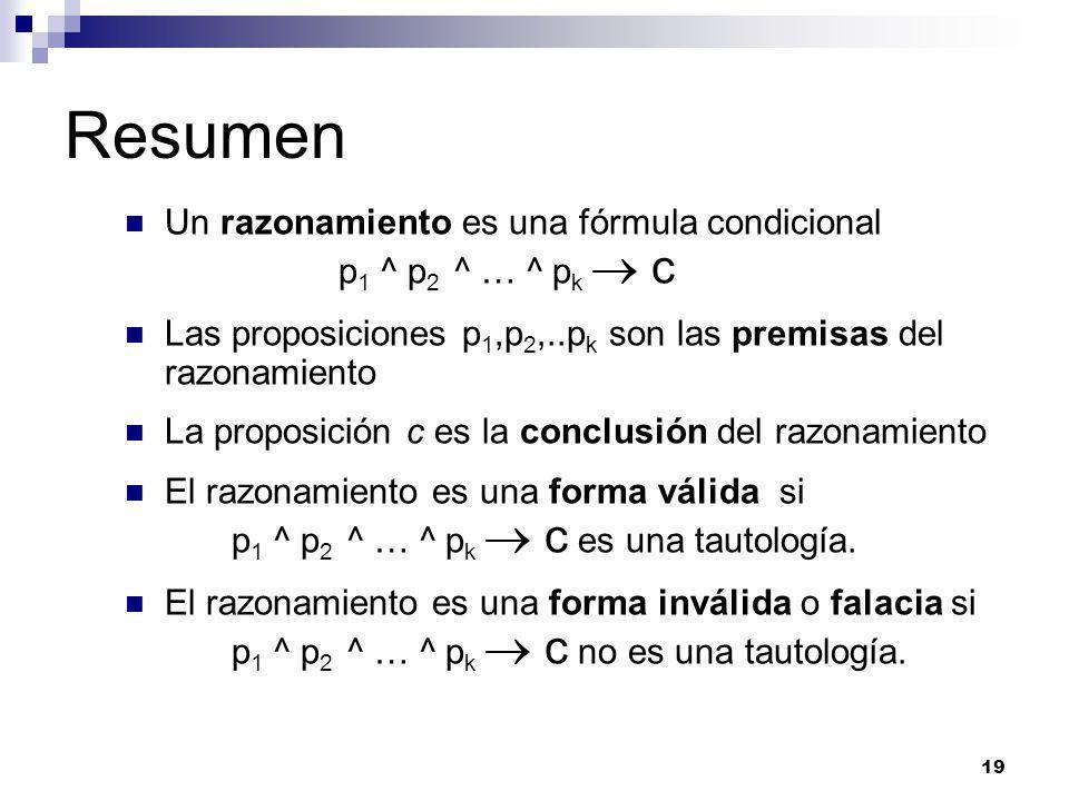 19 Resumen Un razonamiento es una fórmula condicional p 1 ^ p 2 ^ … ^ p k c Las proposiciones p 1,p 2,..p k son las premisas del razonamiento La proposición c es la conclusión del razonamiento El razonamiento es una forma válida si p 1 ^ p 2 ^ … ^ p k c es una tautología.