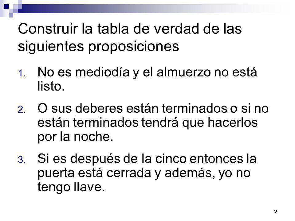 2 Construir la tabla de verdad de las siguientes proposiciones 1.