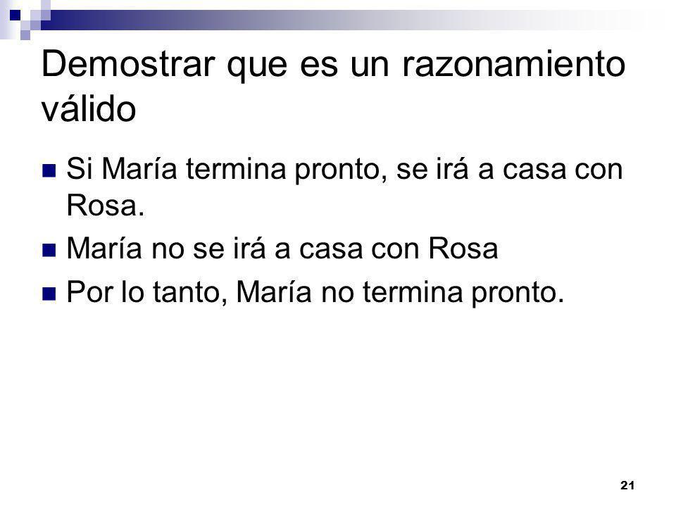 21 Demostrar que es un razonamiento válido Si María termina pronto, se irá a casa con Rosa.