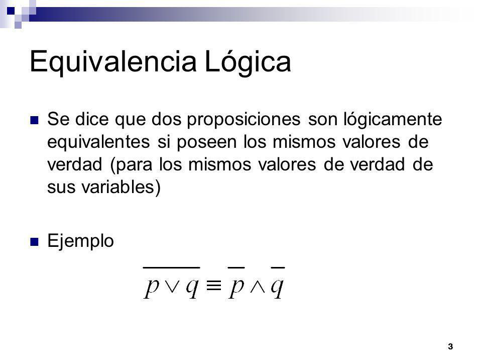 3 Equivalencia Lógica Se dice que dos proposiciones son lógicamente equivalentes si poseen los mismos valores de verdad (para los mismos valores de verdad de sus variables) Ejemplo