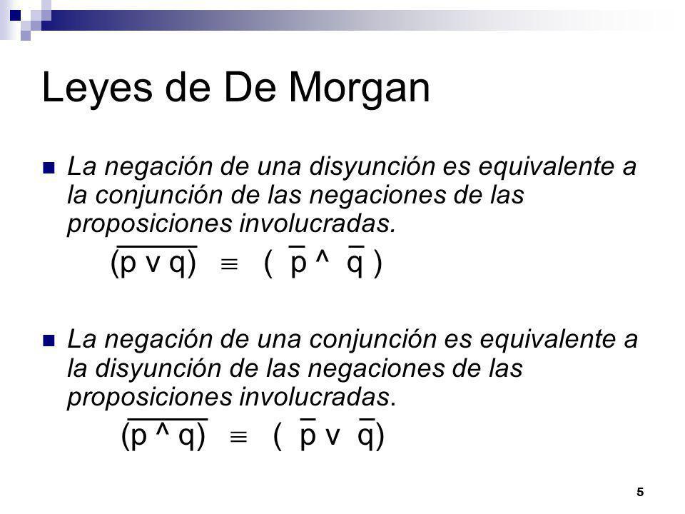 5 Leyes de De Morgan La negación de una disyunción es equivalente a la conjunción de las negaciones de las proposiciones involucradas.