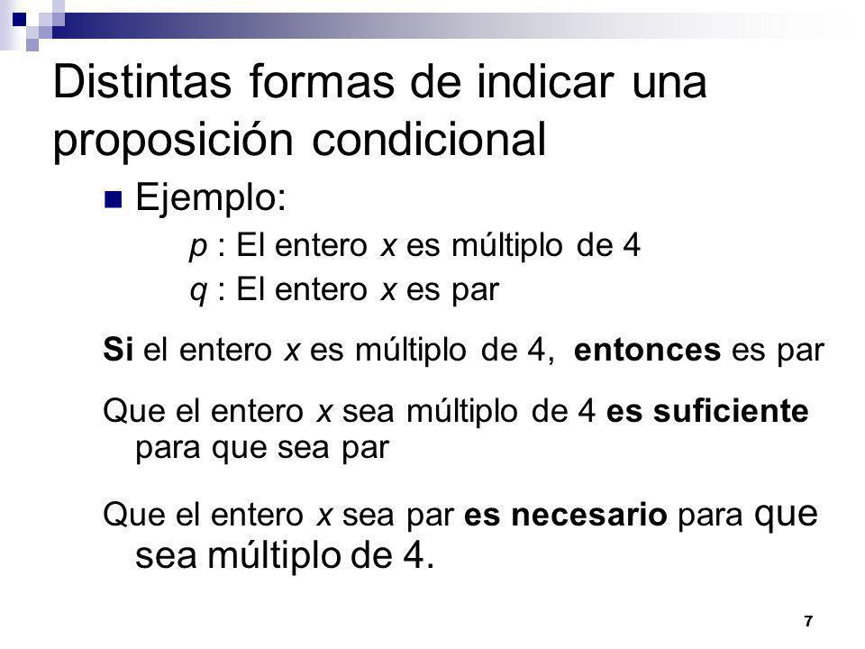 7 Distintas formas de indicar una proposición condicional Ejemplo: p : El entero x es múltiplo de 4 q : El entero x es par Si el entero x es múltiplo de 4, entonces es par Que el entero x sea múltiplo de 4 es suficiente para que sea par Que el entero x sea par es necesario para que sea múltiplo de 4.