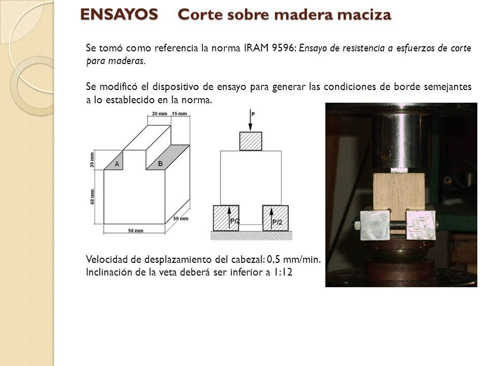 Tensión máxima de corte r Resultados EnsayoPropiedadValor medioSCv (%)Nº de muestras Corte r [Kg/cm 2 ] 47,262,455,188 ENSAYOSCorte sobre madera maciza