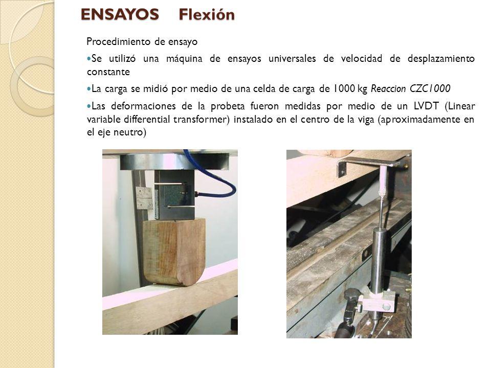 Resultados Es de hacer notar que módulo de elasticidad obtenido por este método no corresponde al real de la madera debido a la influencia del corte en las deformaciones debidas a la flexión.