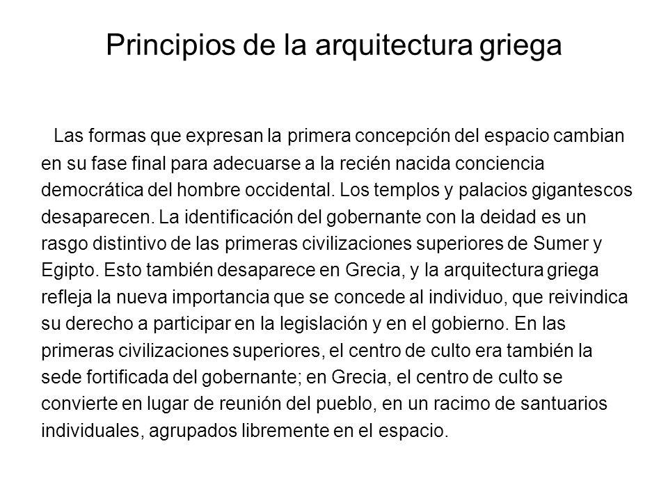 Principios de la arquitectura griega Las formas que expresan la primera concepción del espacio cambian en su fase final para adecuarse a la recién nac