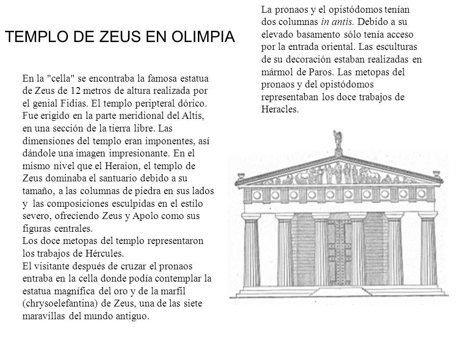 La pronaos y el opistódomos tenían dos columnas in antis. Debido a su elevado basamento sólo tenía acceso por la entrada oriental. Las esculturas de s