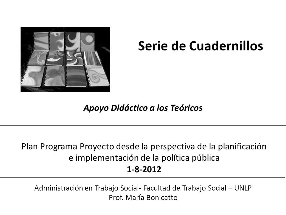 Serie de Cuadernillos Apoyo Didáctico a los Teóricos Administración en Trabajo Social- Facultad de Trabajo Social – UNLP Prof.