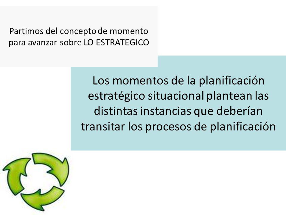 Los momentos de la planificación estratégico situacional plantean las distintas instancias que deberían transitar los procesos de planificación Partimos del concepto de momento para avanzar sobre LO ESTRATEGICO