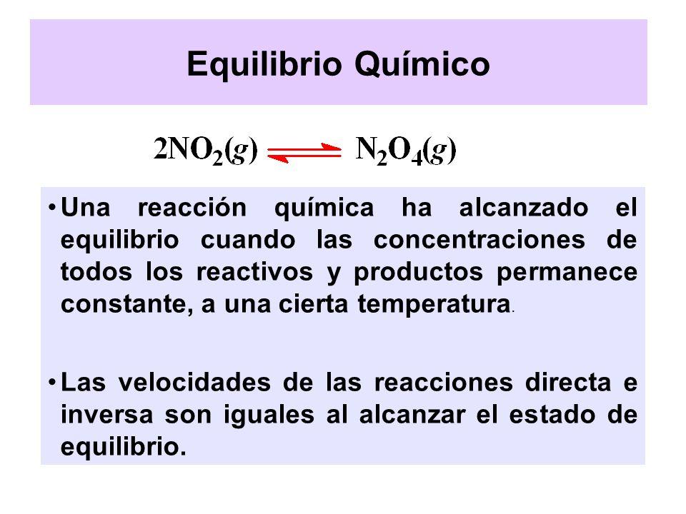 Una reacción química ha alcanzado el equilibrio cuando las concentraciones de todos los reactivos y productos permanece constante, a una cierta temper