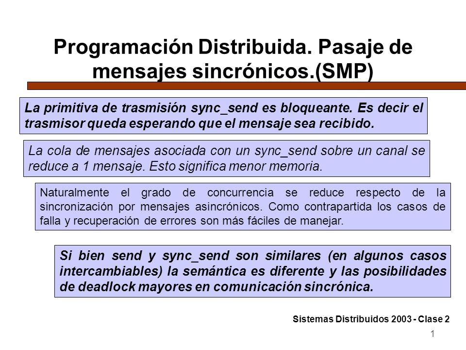 1 Programación Distribuida. Pasaje de mensajes sincrónicos.(SMP) La primitiva de trasmisión sync_send es bloqueante. Es decir el trasmisor queda esper