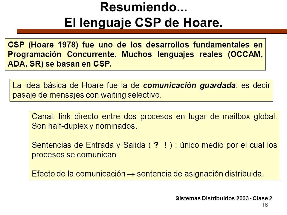 16 Resumiendo... El lenguaje CSP de Hoare. CSP (Hoare 1978) fue uno de los desarrollos fundamentales en Programación Concurrente. Muchos lenguajes rea