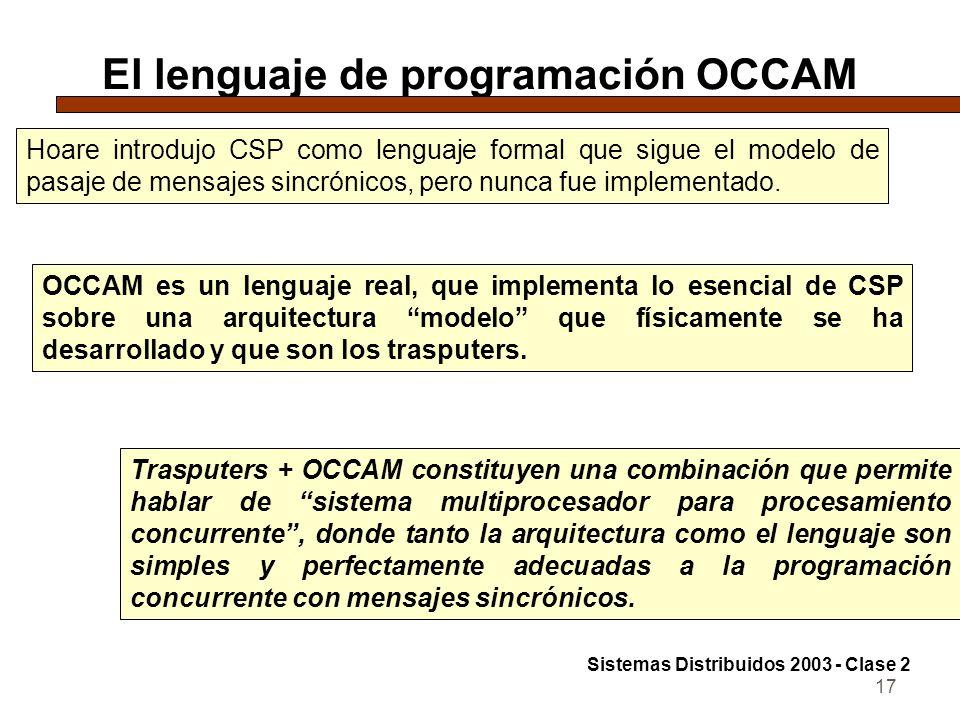 17 El lenguaje de programación OCCAM Hoare introdujo CSP como lenguaje formal que sigue el modelo de pasaje de mensajes sincrónicos, pero nunca fue im