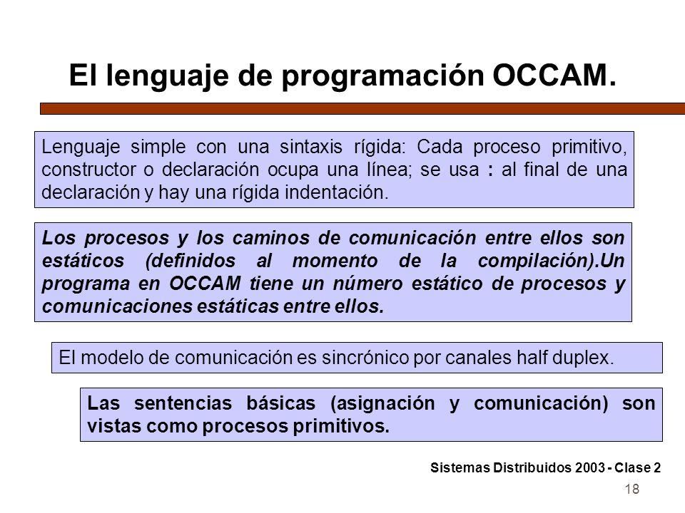 18 El lenguaje de programación OCCAM. Lenguaje simple con una sintaxis rígida: Cada proceso primitivo, constructor o declaración ocupa una línea; se u