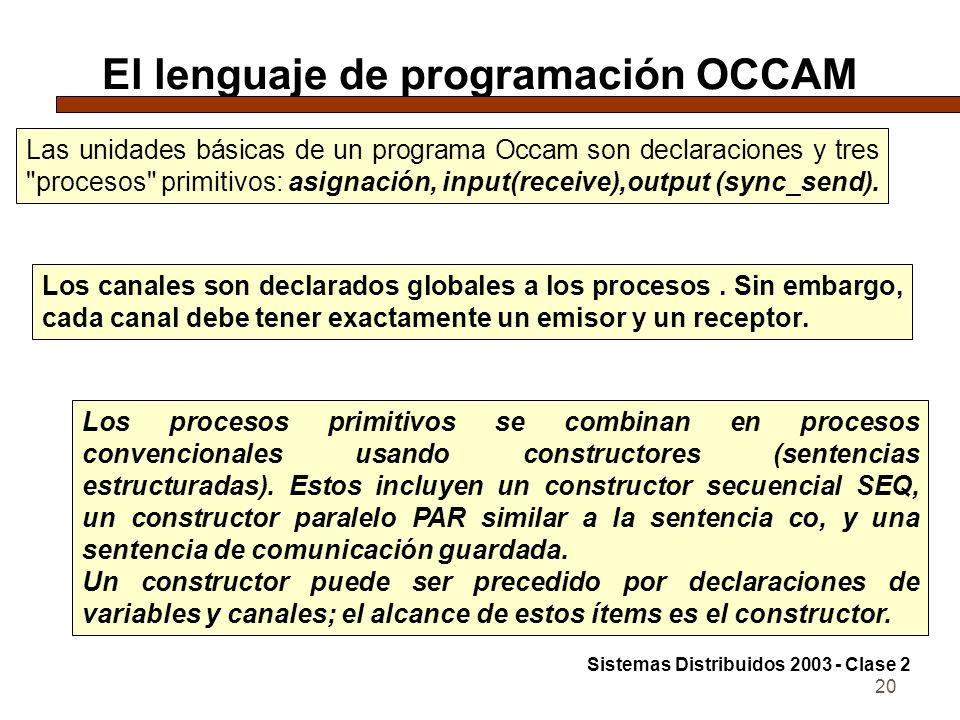 20 El lenguaje de programación OCCAM Las unidades básicas de un programa Occam son declaraciones y tres