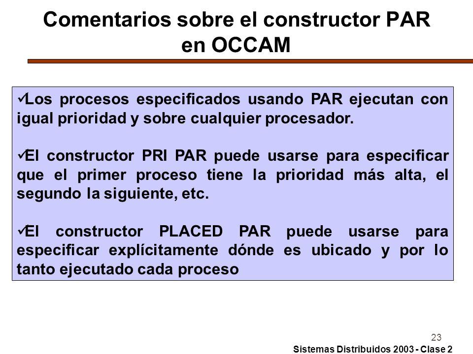 23 Comentarios sobre el constructor PAR en OCCAM Los procesos especificados usando PAR ejecutan con igual prioridad y sobre cualquier procesador. El c