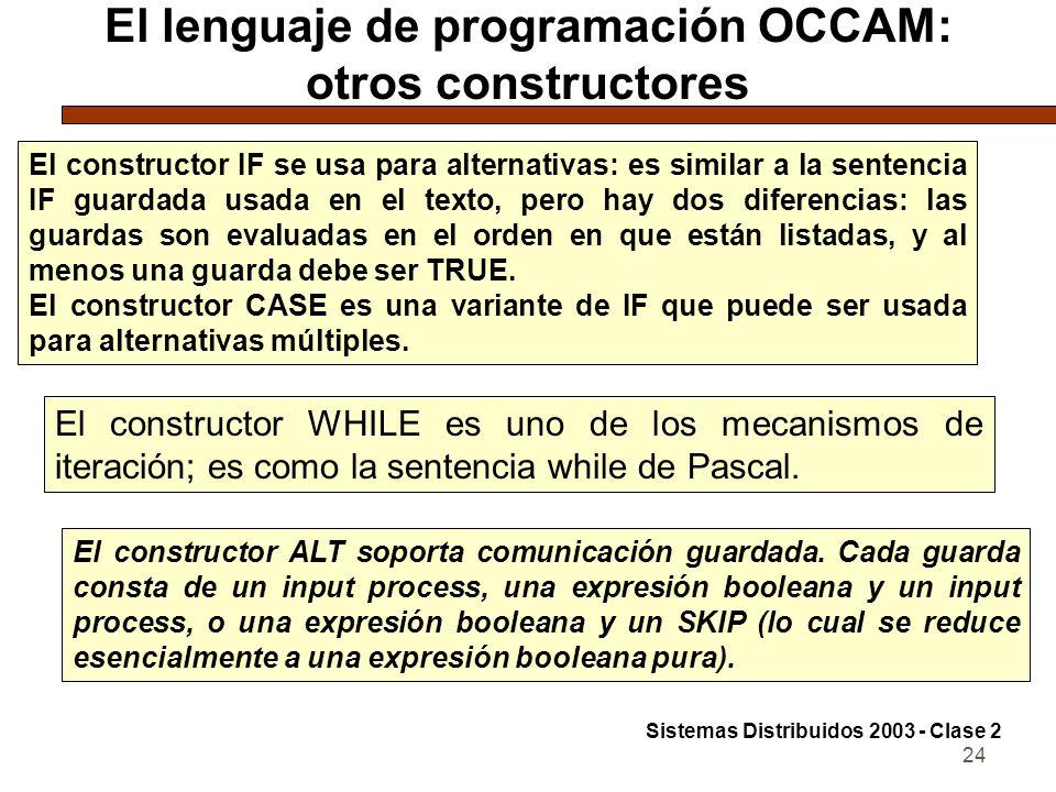 24 El lenguaje de programación OCCAM: otros constructores El constructor IF se usa para alternativas: es similar a la sentencia IF guardada usada en e