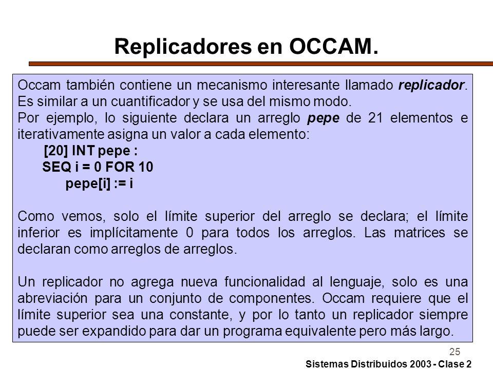 25 Replicadores en OCCAM. Occam también contiene un mecanismo interesante llamado replicador. Es similar a un cuantificador y se usa del mismo modo. P