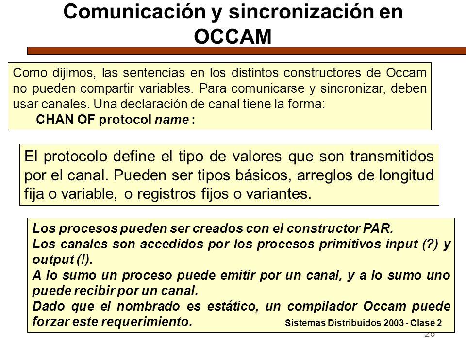 26 Comunicación y sincronización en OCCAM Como dijimos, las sentencias en los distintos constructores de Occam no pueden compartir variables. Para com