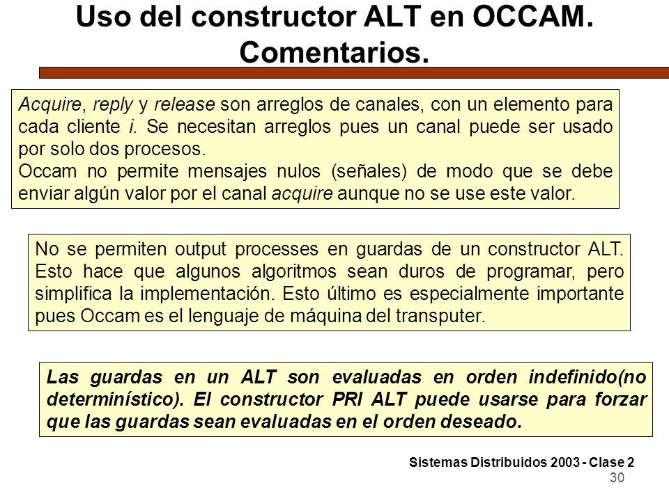 30 Uso del constructor ALT en OCCAM. Comentarios. Acquire, reply y release son arreglos de canales, con un elemento para cada cliente i. Se necesitan