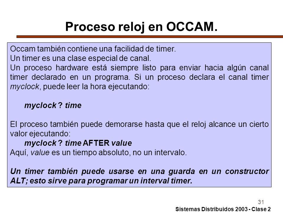 31 Proceso reloj en OCCAM. Occam también contiene una facilidad de timer. Un timer es una clase especial de canal. Un proceso hardware está siempre li