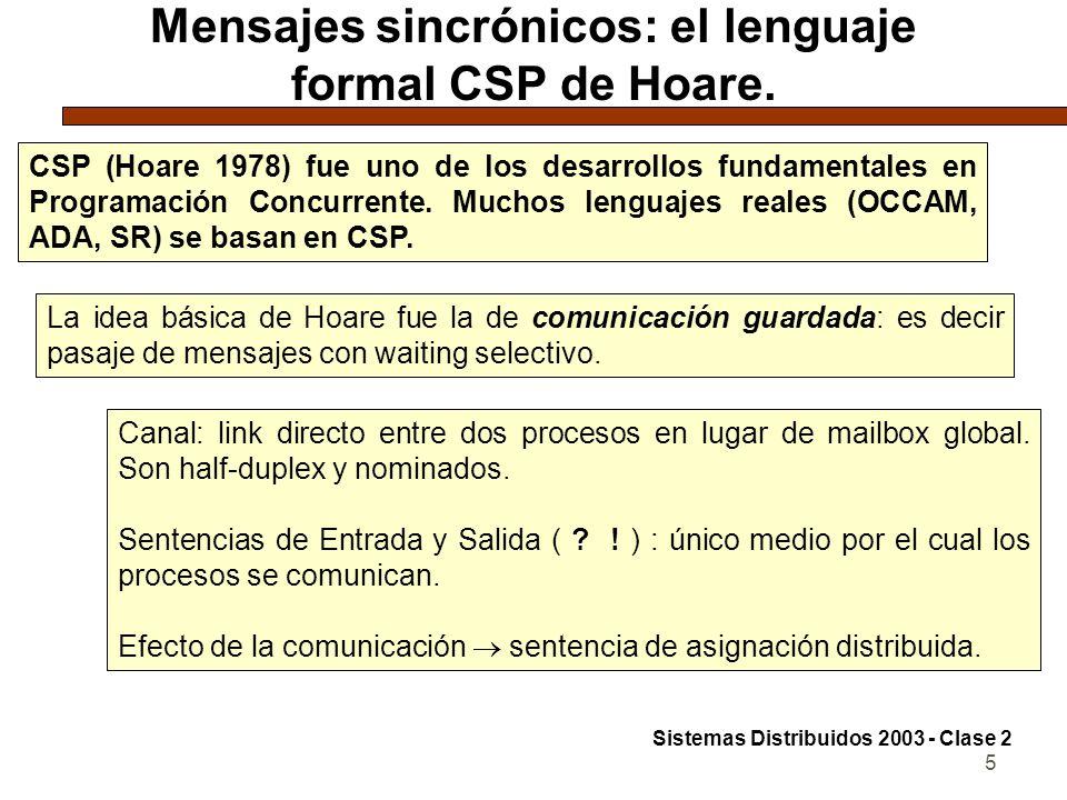 5 Mensajes sincrónicos: el lenguaje formal CSP de Hoare. CSP (Hoare 1978) fue uno de los desarrollos fundamentales en Programación Concurrente. Muchos